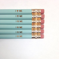 I heart love me. 6 six baby blue pencils of self congratulatory awesomeness. self love.