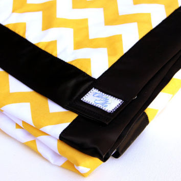 Baby Blanket Yellow Chevron with minky and black satin binding.