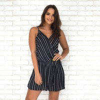 Secret Crush Stripe Wrap Romper