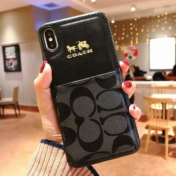 COACH Newest Fashionable Women Men Luxury Card Mobile Phone Cover Case For iphone 7plus 8 8plus X XsMax XR Black