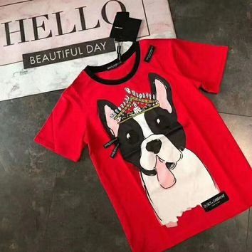 """""""Dolce & Gabbana""""Couple Unisex Fashion Casual Short-Sleeved Crown dog personality trend comfortable Printed Round Neck Short Sleeve Top"""