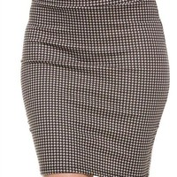 Career Houndstooth Plaid Print Stretch Pencil Straight Bodycon Knit Mini Skirt