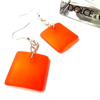 Tangerine Sea Glass Square Dangle Earring, Beach Jewelry