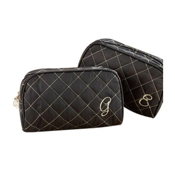 "Cosmetic Couture Quilted Monogrammed """"N"""" Make-Up Bag - 15012XN"