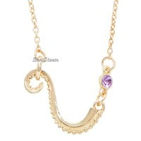 Licensed cool Disney The Little Mermaid Tentacle Ursula Octopus Purple Faux Gem Necklace NEW