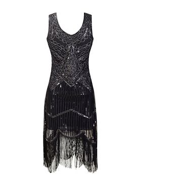 1920s Gatsby Flapper Sequin Fringe Embroidery Midi Summer Retro Black Dress