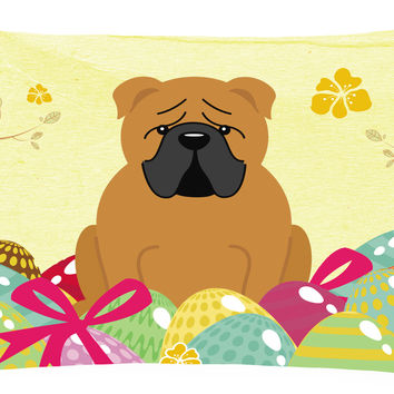 Easter Eggs English Bulldog Red Canvas Fabric Decorative Pillow BB6122PW1216