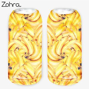 Zohra New Arrival Banana Graphic 3D Full Printing Calcetines Women Low Cut Ankle Sock Hosiery Fruit Shape Meias Socks
