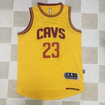 KUYOU Cleveland Cavaliers LeBron James Yellow 100% Authentic Jersey