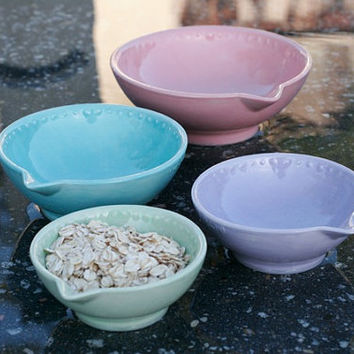 Cotton Candy Measuring Cup Set of Four 4 - Pastel Pink Blue Purple Lavender Mint Wintergreen Green - Hand Painted Prep Bowls - Made To Order