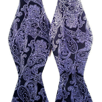 Black with Purple Patterned Paisley - Self-Tied Bow Tie