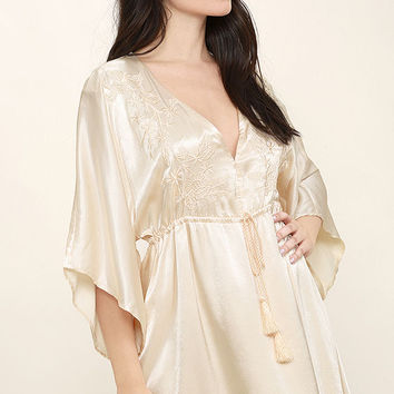 These Words Light Beige Satin Dress