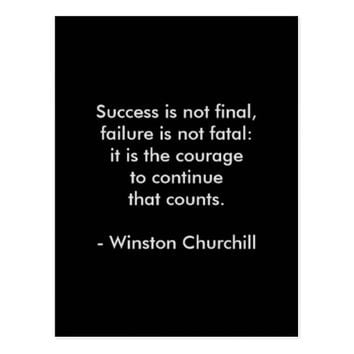 Winston Churchill Quote; Success Postcard