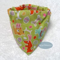 Easter Puppies Dog Bandana, Collar Slipcover or Scrunchie style