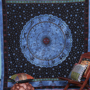 Horoscope Wall Tapestry, Cotton Table Cloth Decorative Bedspread, Indian tapestry, New Age Dorm Decor, Astrology Zodiac, Throw Bedspread