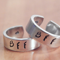 BFF - Cuff Rings Set, Hand Stamped, Best Friend Forever Gift, Gift Under 20