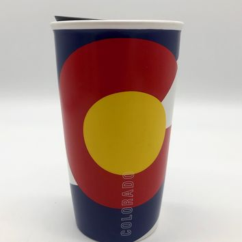 New COLORADO Flag STARBUCKS Travel Coffee Cup Mug Tumbler Double Wall Ceramic