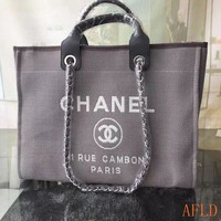 681 Fashion Canvas Embroidered Chain Tote Casual Large Shopper 37-30-18cm