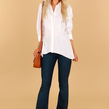 Open Back Button Down White