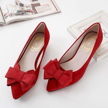 New fashion bowtie shoes high quality flock patent leather shoes women flats low heel