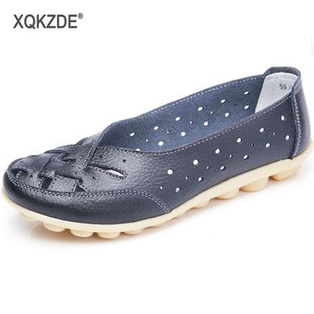 XQKZDE 2018 New Arrival Women Flat Shoes Hollow Loafer Ballerina Flats Casual Female Shoes Plus Size 44 AF40