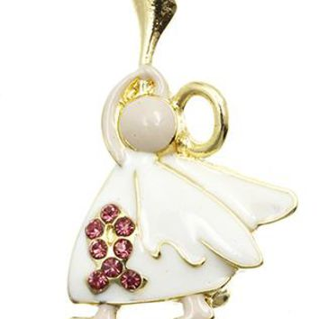 Resounding Angel Breast Cancer Awareness Crystal Stone Pin And Brooch