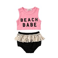 Fashion Newborn Toddler Baby Girls Summer Clothes Sleeveless Letter Print Tank Tops+Tassel Shorts Baby Bloomers 2PCS Outfits