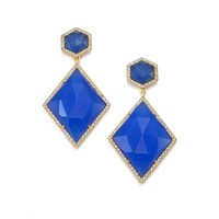 MIJA Dark Blue Jade & White Sapphire Geometric Drop Earrings