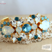 Bridal Bracelet, White Opal sky blue Swarovski Cuff bracelet, Gold Crystal Statement Bracelet. Bridal something blue jewelry, Cuff bracelet