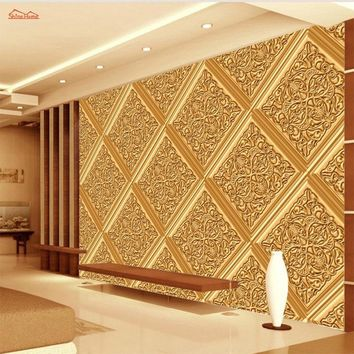 Classical Golden Pattern Soft Rolls Luxury Embossed Wallpaper 3D Room for Livingroom 3d Wall Paper Covering Household Murals