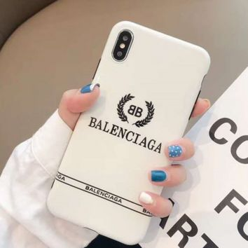 White BALENCIAGA Case for iPhone 7 8 XS MAX XR