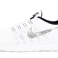 Women's Nike Free 5.0 RN - Customized with Swarovski Crystals White