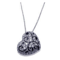 .925 Sterling Silver Clear Heart Pendant Necklace