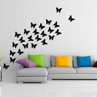 Butterfly Wall Decals 24 pcs, Home Decor Art Vinyl Stickers, DIY Car & Furniture Removable Decal. Nature Design for your Living and Bedroom