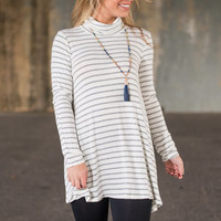 Feeling Some Stripe Of Way Top, Ivory-Gray