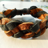 Summer West cowboy High Quality Brown Black Leather Braid Multilayer Weaved  Retro Fashion Wrap Bracelet W-59