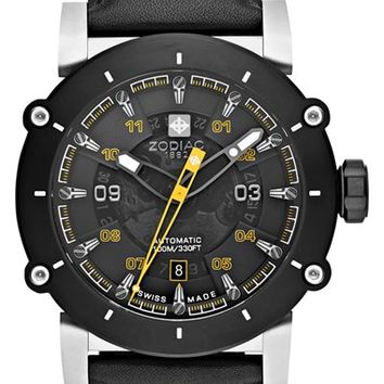 Men's Zodiac 'ZMX-02 Racer' Perforated Leather Strap Watch, 44mm