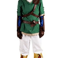 Miccostume Men's the Legend of Zelda Link Cosplay Costume Medium Green and White