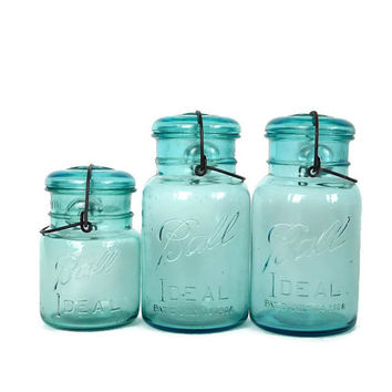 Antique Aqua Ball Ideal Jars With Wire Bales and Glass Lids