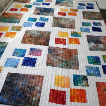 Modern Patchwork baby or lap quilt , rainbow of hand dyed Bali Batiks & white  playtime, nursery, blue, turquoise, orange, white, yellow