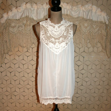 Romantic Blouse White Lace Blouse Boho Blouse Sleeveless White Blouse White Chiffon Blouse Boho Clothing Boho Tops Medium Womens Clothing