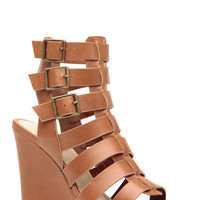 Chestnut Faux Leather Strappy Sandal Wedges