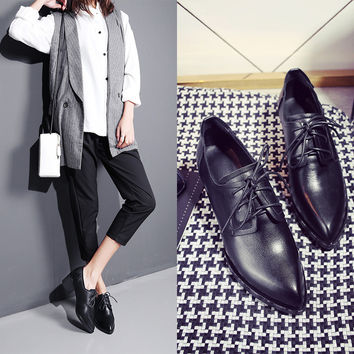England Style Pointed Toe Black With Heel Low-cut Leather Casual Shoes [4920565764]