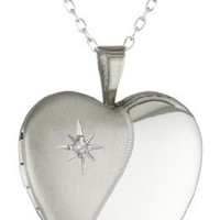 Momento Lockets Sterling Silver 0.01Ct Heart Shaped Locket Diamond Necklace