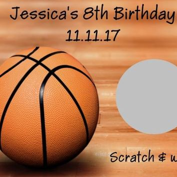10 Basketball Birthday Party Scratch Off Cards