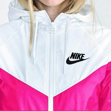 Nike Fashion Hooded Zipper Cardigan Jacket Coat Windbreaker Sportswear White-pink