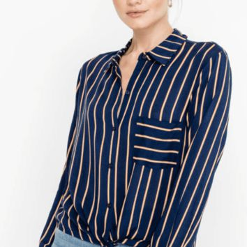Women's Cropped Button Down Shirt with Front Tie