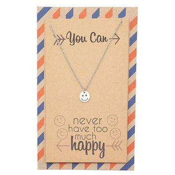 "Kelsey ""You Can Never Have Too Much Happy"" Necklace, Inspirational Gifts for Women"