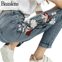 Bazaleas 2017 Spring Flower Embroidery Jeans Pockets Straight Denim Jeans Women Bottom Female Light Blue Casual Pants Capris