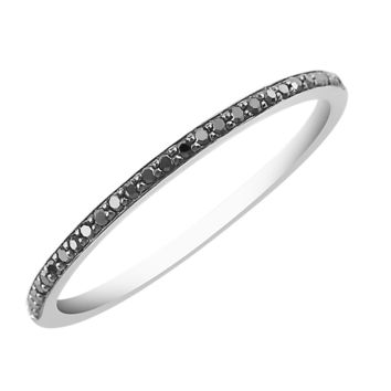 Black Diamond Band Ring - Sterling Silver
